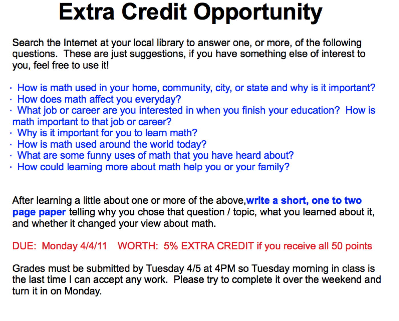 A Failed Extra Credit Offer | Reflections of a Second-career Math ...