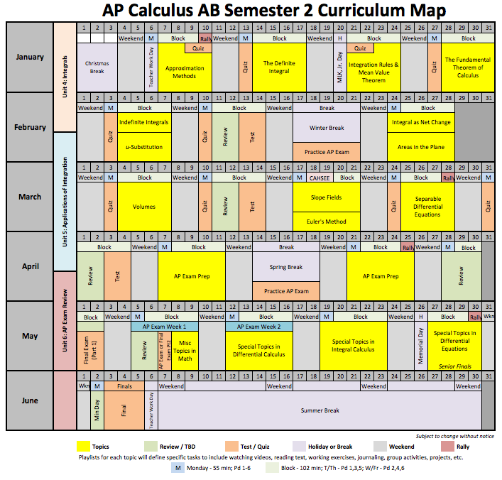 music curriculum map template - ap calculus ab spring semester curriculum map