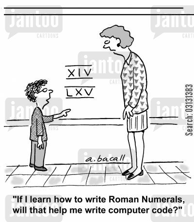 If I learn how to write Roman Numerals, will that help me write computer code?