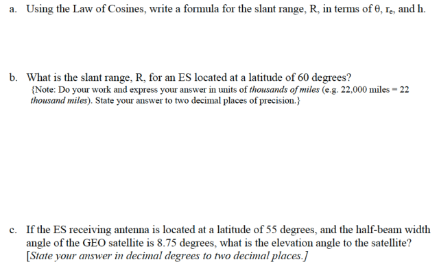 Law of Cosines Questions
